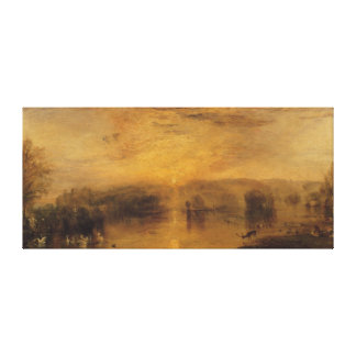 The Lake, Petworth: Sunset, a Stag Drinking Canvas Print