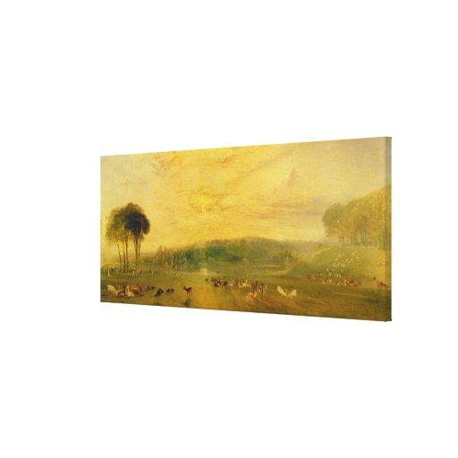 The Lake, Petworth: Sunset, Fighting Bucks Canvas Print