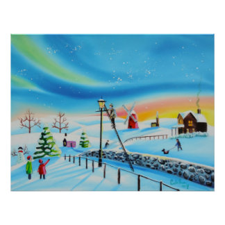 The lamp lighter winter snow scene Gordon Bruce Poster