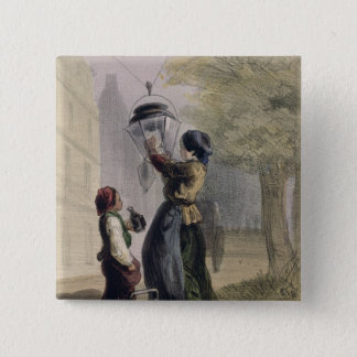 The Lamplighter, from 'Les Femmes de Paris' 15 Cm Square Badge