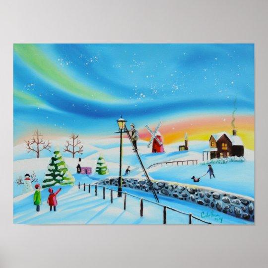 The Lamplighter winter landscape Gordon Bruce Poster