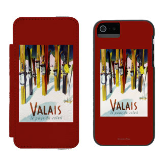 The Land of Sunshine - Skis Standing in Snow Incipio Watson™ iPhone 5 Wallet Case