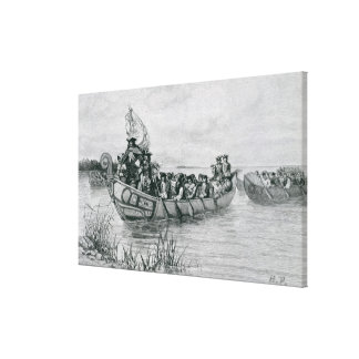 The Landing of Cadillac Canvas Print