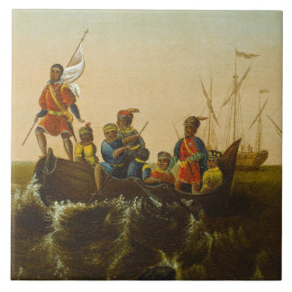 The Landing of Columbus, c.1837 (oil on canvas) Tile
