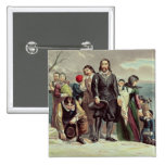 The Landing of the Pilgrims at Plymouth 15 Cm Square Badge