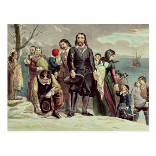 The Landing of the Pilgrims at Plymouth Postcard