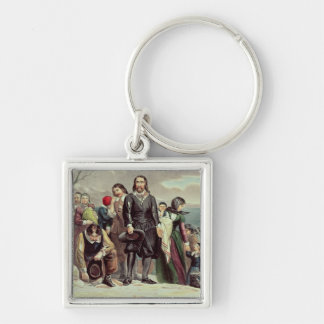 The Landing of the Pilgrims at Plymouth Silver-Colored Square Key Ring