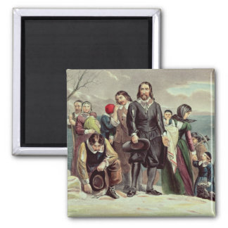 The Landing of the Pilgrims at Plymouth Square Magnet