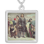 The Landing of the Pilgrims at Plymouth Square Pendant Necklace