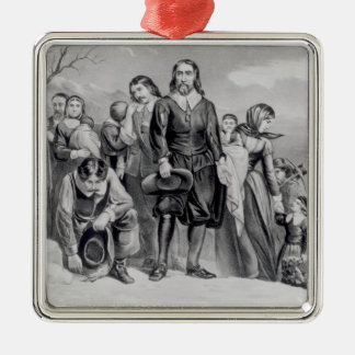 The Landing of the Pilgrims Silver-Colored Square Decoration