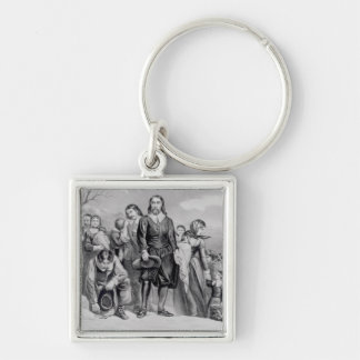 The Landing of the Pilgrims Silver-Colored Square Key Ring