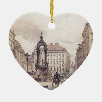 The large market in Vienna by Rudolf von Alt Ceramic Heart Decoration