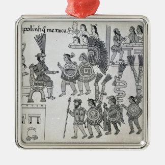 The last Aztec Emperor Cuauhtemoc surrenders Silver-Colored Square Decoration
