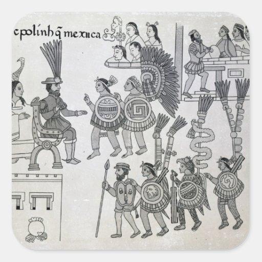 The last Aztec Emperor Cuauhtemoc surrenders Square Sticker