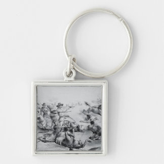 The Last Battle of General Custer Silver-Colored Square Key Ring