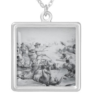 The Last Battle of General Custer Square Pendant Necklace