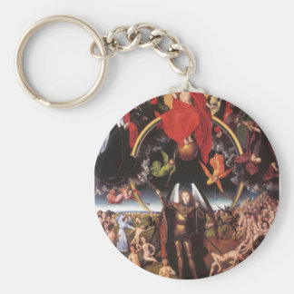 The Last Judgement. Hans Memling; c. 1467-1471 Basic Round Button Key Ring