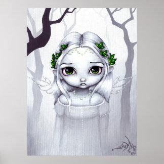 The Last Leaves ART PRINT winter fairy big eyes