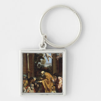 The Last Sacrament of St. Jerome, 1614 Silver-Colored Square Key Ring