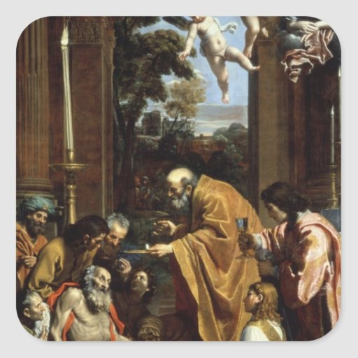 The Last Sacrament of St. Jerome, 1614 Square Stickers