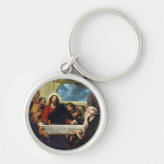 The Last Supper by Benjamin West Silver-Colored Round Key Ring