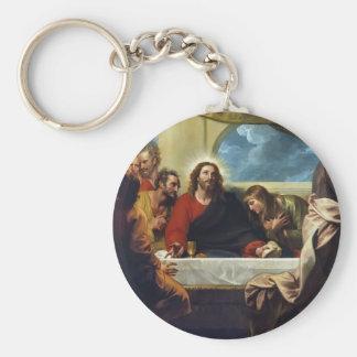 The Last Supper by Benjamin West Basic Round Button Key Ring