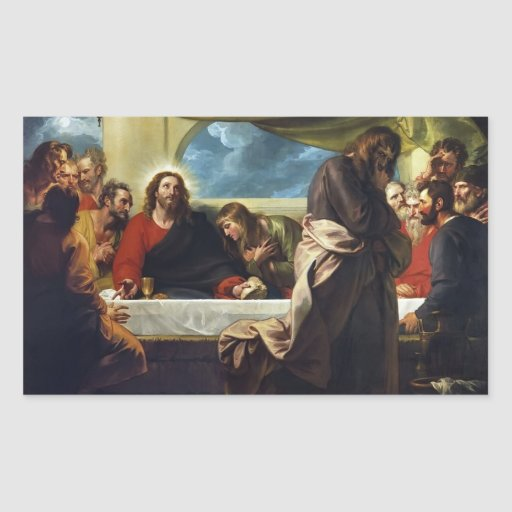 The Last Supper by Benjamin West Rectangle Sticker