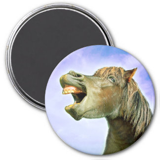 The laughing horse 7.5 cm round magnet