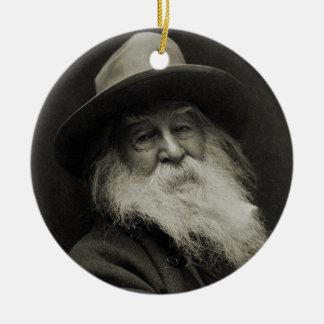 The Laughing Philosopher Poet Walt Whitman Round Ceramic Decoration