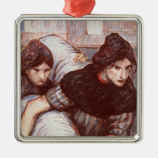 The Laundresses, 1898 (pastel on canvas) Silver-Colored Square Decoration