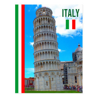 The Leaning Tower Of Pisa And The Italian Flag Postcard