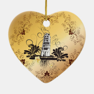The leaning tower of Pisa Ceramic Heart Decoration