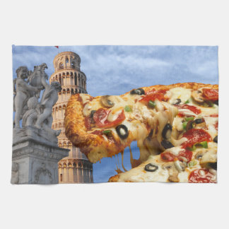 The Leaning Tower of Pizza (Pisa) Tea Towel