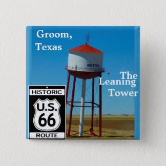 The Leaning Tower of Texas in Groom - Highway 66 15 Cm Square Badge