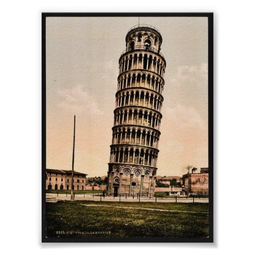 The Leaning Tower, Pisa, Italy classic Photochrom Print