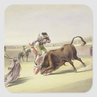 The Leap or Salta Tras Cuernos, 1865 (colour litho Square Sticker