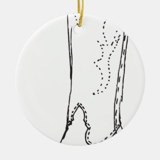 The Leather Boot Round Ceramic Decoration