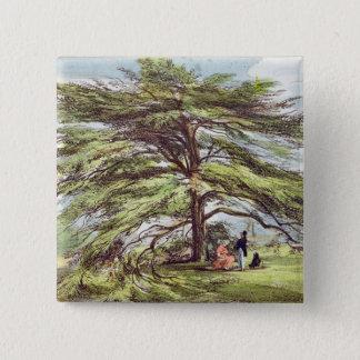The Lebanon Cedar Tree in the Arboretum, Kew Garde 15 Cm Square Badge