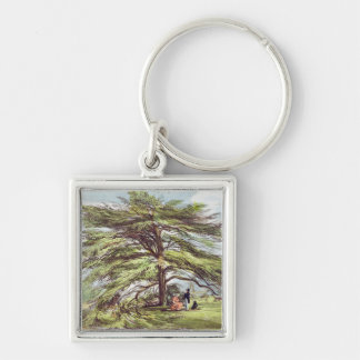 The Lebanon Cedar Tree in the Arboretum, Kew Garde Silver-Colored Square Key Ring