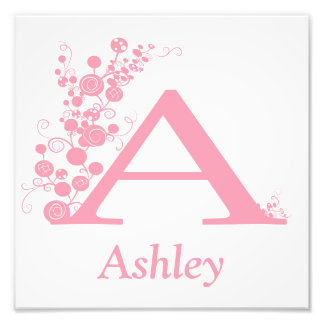 The Letter A - Template - Personlize - Girl Art Photo Print