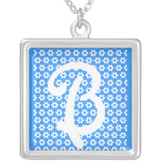 "The Letter ""B"" Square Pendant Necklace"