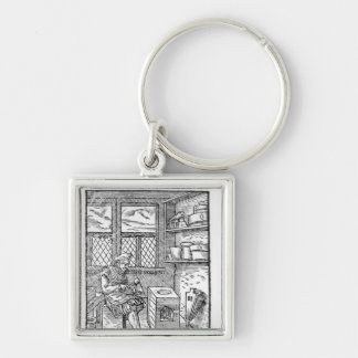 The Letter Plate Maker Silver-Colored Square Key Ring