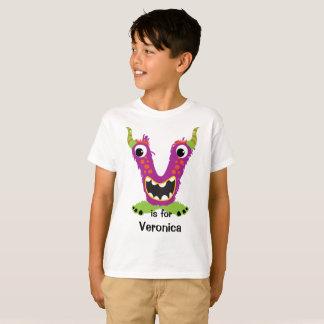 The Letter V Monster Alphabet Personalize T-Shirt