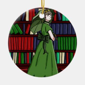 The Librarian Round Ceramic Decoration