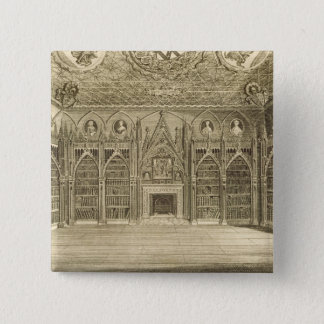 The Library, engraved by Godfrey, from 'Descriptio 15 Cm Square Badge