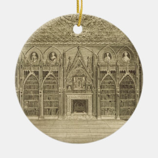 The Library, engraved by Godfrey, from 'Descriptio Christmas Ornament