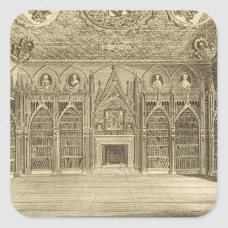 The Library, engraved by Godfrey, from 'Descriptio Square Sticker