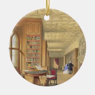 The Library, Windsor Castle, 1838 (colour litho) Round Ceramic Decoration