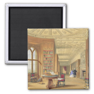 The Library, Windsor Castle, 1838 (colour litho) Square Magnet