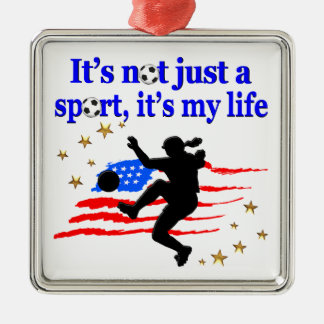 THE LIFE OF A USA SOCCER PLAYER DESIGN Silver-Colored SQUARE DECORATION